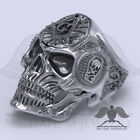 MichaelMJewelry Masonic Freemason Skull Trowel 925 Sterling Silver Biker Ring