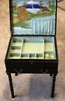 Antique Jewellery Box Japanese Table 19th Century Lacquered Blue Silk Lined Old