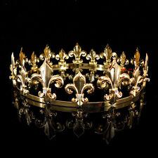 Men's Imperial Medieval Fleur De Lis Gold King Crown 4.6cm High 18cm Diameter