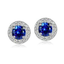 925 Silver 1.15ct Created Blue Sapphire & White Topaz 5mm Halo Stud Earrings