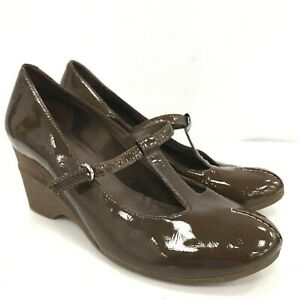 Clarks Shoes Ladies UK 6 Brown Patent Leather Mary Jane Buckle Wedge Heels 39005