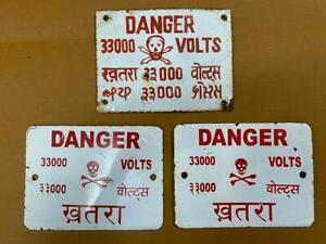 Vintage 3 Pc. Porcelian Enamel Warning Sign Scull 33000 Valts Danger Sign Board