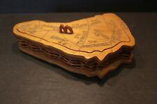 Barbados Souvenir Trinket Box Island Shaped Hand Crafted Wood Wicker Vintage