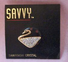 New Old Stock! Genuine Swarovski TINY SWAN Pin/Brooch Tie Tack