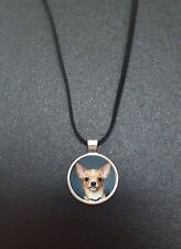 """Chihuahua Dog Pendant On a 18"""" Black Cord Necklace Keepsake Gift N370"""