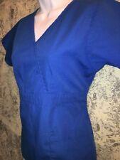 JUNIPER blue mock wrap empire waist scrubs top nurse medical dental uniform XS