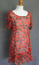 PINS AND NEEDLES Ladies Red Floral Patterned DRESS - Size L - Large