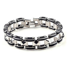 Punk Men Silver Stainless Steel Rubber Bracelet Bangle Wristband Cuff Chain Link