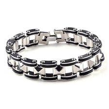 Silver Stainless Steel Rubber Motorcycle Biker Men Chain Link Bracelet Bangle