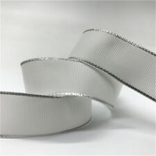"5yds 1"" 25mm Silver Metallic Edge Grosgrain Ribbon Wedding Christmas Decoration"