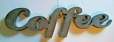 NWT! $40 Big 'Coffee' MCM Deco Brushed Metal Sign Home Decor Gift Kitchen Java