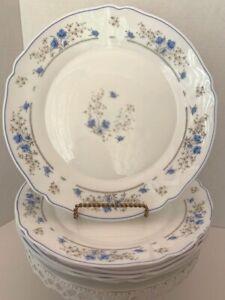 """Romantique, Set of 6 Luncheon Plates 9-1/4"""", Arcopal France, Blue Flowers"""