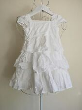 """""""Mothercare"""" Baby Girl Size 9-12M White Ruffle Dress Great Condition! Bargain!"""
