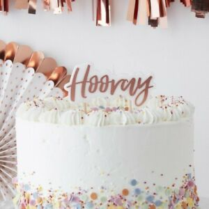 HOORAY Rose Gold Candle Birthday Party Christening Anniversary Cake Decoration