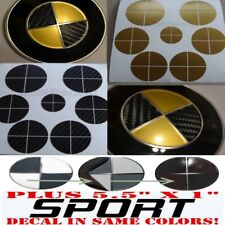 BLACK CARBON FIBER & GOLD Sticker Overlay +SPORT FULL SET Fit All BMW Emblems