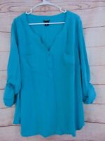 Torrid Women's Size 3x CHALLIS BUTTON-TAB SLEEVES TOP Teal Aqua Popover Shirt