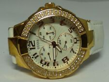Guess Women's Gold Tone Watch W/ Leather Band