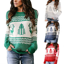 Women's Christmas Long Sleeve Knitted Sweater Pullover Jumper Winter Casual Tops