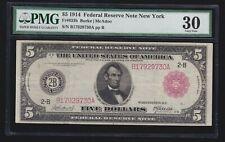 US 1914 $5 FRN New York Red Seal FR 833b PMG 30 VF (-730)