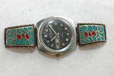 Vintage Turquoise and Coral Chip Inlay Sterling Silver Watch tips