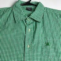 Avirex Men Short Sleeve Button Up Shirt XL Green White Gingham Plaid One Pocket
