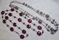 VINTAGE TO NOW PURPLE GRAPE LUCITE & FANCY SILVER TONE BEADED LONG NECKLACE LOT