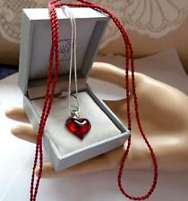 PENDANT LALIQUE CRYSTAL RED HEART /SILVER 925  CHAIN AND SILK CORD STUNNING