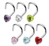 1pc Surgical Steel Nose Screw Ring w/Heart Prong Set Gem 18g,20g - choose color