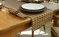 "14x78"" RURAL CHECK TABLE RUNNER - 6 SEATER - BEIGE, OLIVE GREEN & WINE CHECKED"