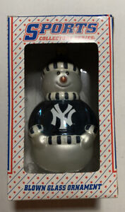 Blown Glass New York Yankees Snowman Ornament by Topperscot