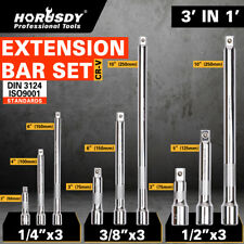 "9Pc Extension Bar Set 1/4"" 3/8"" 1/2"" Drive Extra Long Socket Ratchet CRV New"