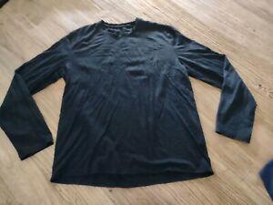 Icebreaker Shirt Mens Large Black Long Sleeve Pullover Top L Merino Wool