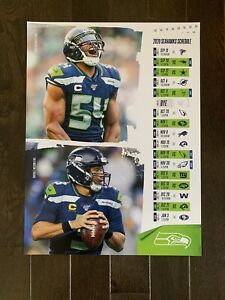 Seattle Seahawks Team 2020 Football Schedule Poster NFC WEST Champions Russell