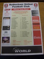 22/10/2005 Colour Teamsheet: Rotherham United v Swansea City [Official Issue]. T