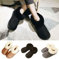 Ladies Wide Fit Slippers New Womens Natural Sheepskin Warm Fur Winter Shoes Size