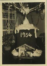 PHOTO ANCIENNE - VINTAGE SNAPSHOT - SAPIN DE NOËL CRÈCHE - CHRISTMAS 1954