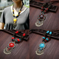 Necklace New Pendant Jewelry Ethnic Beaded Sweater Wood Dance Vintage Chain Long