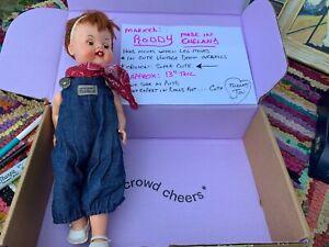 "Guy Selling Grandmas Vintage Doll Roddy Made in England 13"" In Denim Overalls"