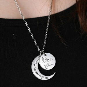 """""""I LOVE YOU TO THE MOON AND BACK""""Silver Tone Pendant Necklace Valentines Gifts"""
