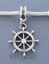 Ship's wheel Pendant Dangle. Large Hole bead Fits European Charm Bracelet C175