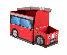 Large Kids Clothes Storage Seat Bedroom Stool Toy Books Box Chest Car Tidy Red