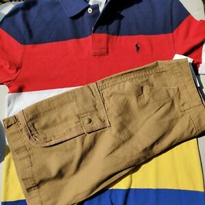 Ralph Lauren Boys Size 12 Cargo Shorts with Large Rugby Top NEW $80 Retail