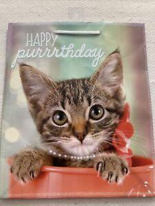 "Kitten Birthday Gift Bag ""Happy Purrrthday"" ADORABLE & UNIQUE 10""x12"""