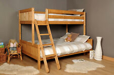 3ft 4ft Triple wooden Bunk Bed kids Pine White & Mattress Option FREE NEXT DAY