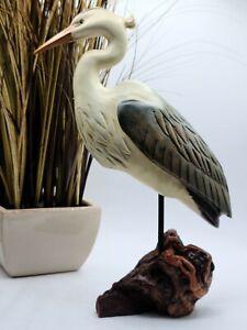 "Big Sky Carvers Wood Blue Heron with Driftwood Base 13.5"" x & 8.5"""