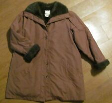 London Fog Lavender Coat, Fur Collar, Cuffs, Lining--Ladies Size 16 Regular
