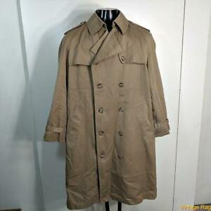 MISTY HARBOR Vtg Long RAINCOAT Rain Trench Coat Mens Size L 42 khaki