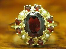 8kt 333 Gold Ring mit 3,27ct Granat & Akoya-Perlen Besatz / RG 53 / 3,0g