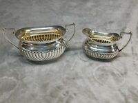Vintage Ribbed Silverplate Creamer & Sugar Made in Great Britain