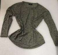 Gina Damen Langarm Shirt Gr. 40  Grün Glitzer gemustert Leicht